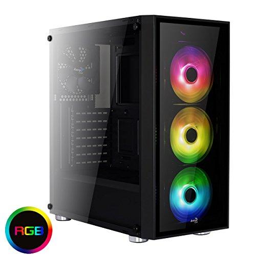 Aerocool Quartz–Gaming für PC Gehäuse (Tower, ATX, 2Platten aus Hartglas, 7Erweiterungssteckplätze, inkl. 312cm LED Lüfter vorne rot, USB 3.0), Schwarz