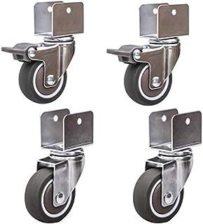 Zwenkwielen voor kinderbedden, met houder U-type, 50 mm, 2 inch, rubber, meubelCastor met remmen, kogellagers, capaciteit ...