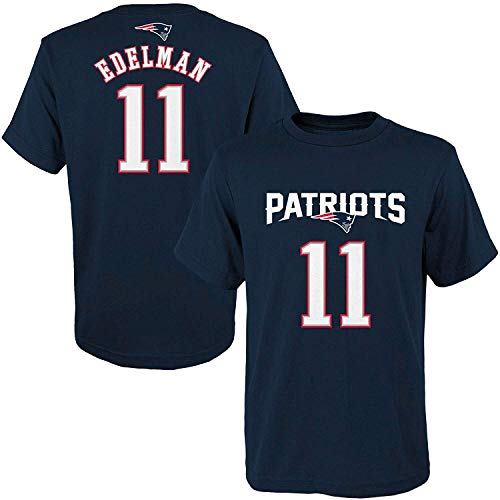Julian Edelman New England Patriots NFL Youth 8-20 Navy Blue Official Player Name & Number T-Shirt (Youth X-Large 18-20)