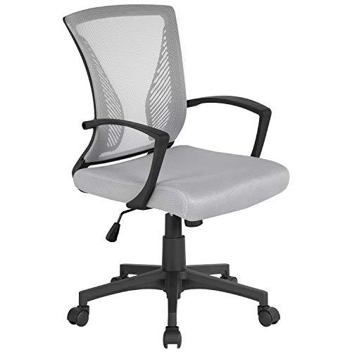 Yaheetech Bürostuhl ergonomischer Schreibtischstuhl Drehstuhl Chefsessel höhenverstellbar Sportsitz Mesh Netz Stuhl Grau