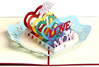 NOCTUA3D Creative Pop Up Greeting Cards Mothers Day Handmade Thank You Thanksgiving Day Birthday Post Card for Mom - I LOVE MOM