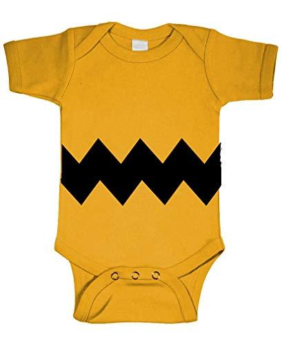 The Goozler Charlie Brown Stripe - Baby Bodysuit, Gold, 12m