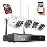 SANNCE Kit Videosorveglianza WiFi Super HD 5MP NVR 8 Canali con 1TB HDD 4 Wireless Telecamera IP 3MP Intelligenti Microfono AI Rilevazione Umana Sistema di Sorveglianza Eseterno IP66 -1TB HDD