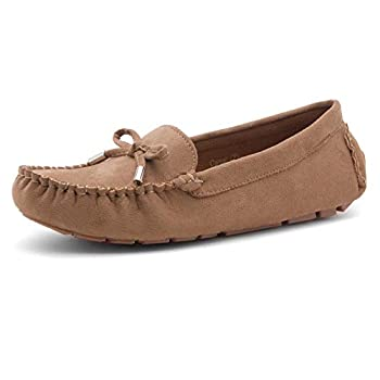 Herstyle Canal Women s Casual Bowknot Penny Loafers Moccasins Driving Shoes Slip on Flat Boat Shoes Tan 9.0