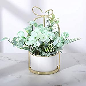 Beiarn Table Flower Artificial Bouquets with Ceramics Vase Floral Arrangement Decoration for Table Home Office Wedding