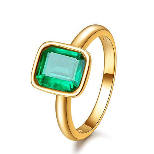 Rizilia Solitaire Engagement Ring with Emerald Cut Gemstones CZ Green Emerald [Size M] in 18K Yellow Gold Plated, Simple Modern Elegance