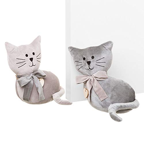 Tope de puerta gato gris de tela/arena de 25x12x23 cm (2 Unidades)