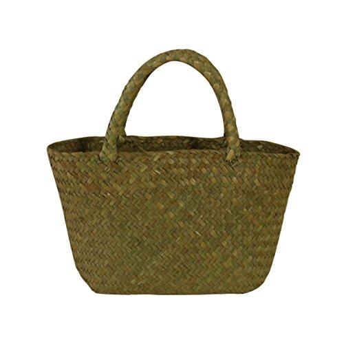 CVHOMEDECO. Handgemachte natürliche Seagrass-Tasche, schicke Strandtasche Einkaufstasche, 30.48 x 30.48 cm