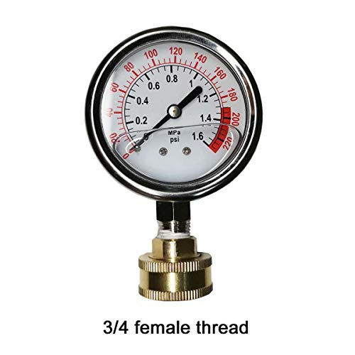 """YZM Stainless Steel 304 Single Scale Liquid Filled Pressure Gauge with Brass Internals, 2-1/2"""" Dial Display, Bottom Mount,Oil Filled Pressure Gauge,Water Pressure Gauge. (Stainless Steel)"""