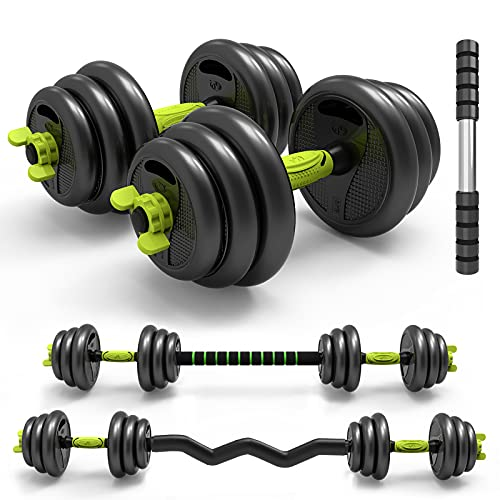 Adjustable Weight Dumbbell 3-in-1 Barbell Home Fitness Equipment Curved Rod Weight Set of 5/10/15/20/ 33, 66 lbs for Men Women Gym Workout Strength Training Used as Barbell, AB Roller (66)