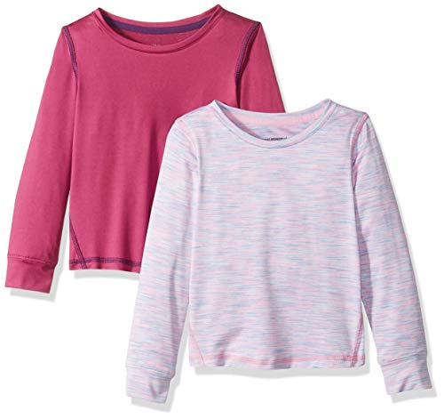 Amazon Essentials – Camiseta deportiva de manga larga para niña (2 unidades), Fuchsia/Purple Spacedye, US 2T (EU 92-98)