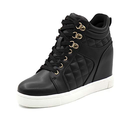 Athlefit Women's Hidden Wedge Sneakers Shoes Lace Up Fashion Black Wedge Sneakers Size 5.5