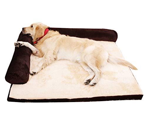 Hundebett Hundekissen Haustierbett Hundekorb Hundesofa Waschbar Abnehmbar für Mittlere Bis Grosse Hunde Vierteiliges Set Braun XL