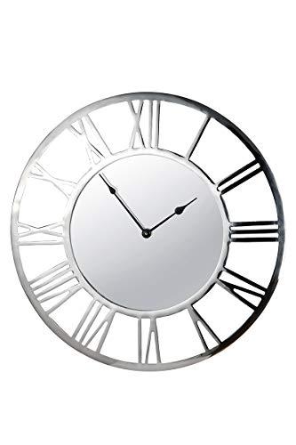 GILDE Uhr - Alu Wanduhr mit verspiegeltem Ziffernblatt für AA Batterie D 60 cm