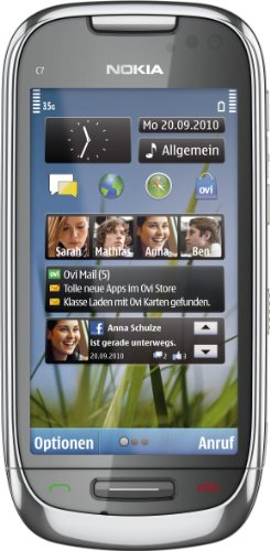 Nokia C7 - Móvil libre (pantalla táctil de 3,5' 640 x 360, cámara 8 MP, 8 GB de capacidad, S.O. Symbian) color plata [importado de Alemania]