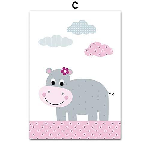 Giraffe Hippo Elephant muurkunst canvas schilderij poster en prints Nordic Prints baby meisje kinderkamer muurschildering