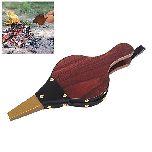 Hihey Blasebalg für Kamin und Grill,Grillgebläse Premium natürliches Holz für Grill,Feuer-Balg,Kochen im Freien, Picknick,Camping,Handkurbel-Gerät