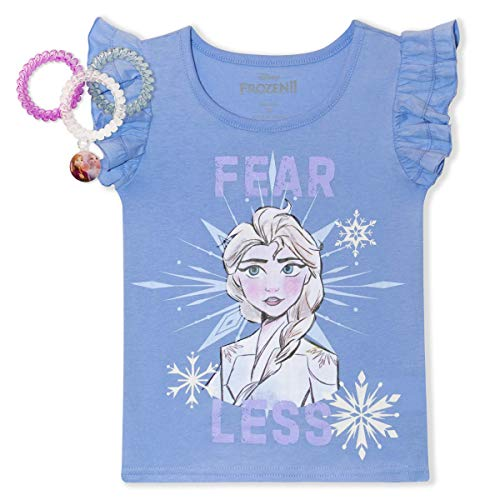 Disney Frozen 2 Shirts for Toddler Girls with Hair Coils, Princess Elsa & Anna Light Blue
