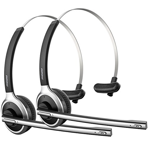 (2 Pack) Mpow Bluetooth Headsets with Microphone, Wireless Over Head Truck Driver Headset for Phones/Skype/Call Center/Office (Support Media Playing)