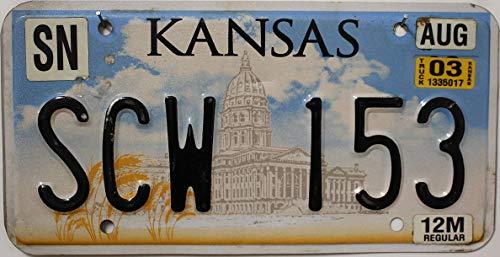 USA_Auswahl_von_Fahrzeugschildern : Kansas Nummernschild, USA Kennzeichen US License Plate, KFZ Schild aus Metall