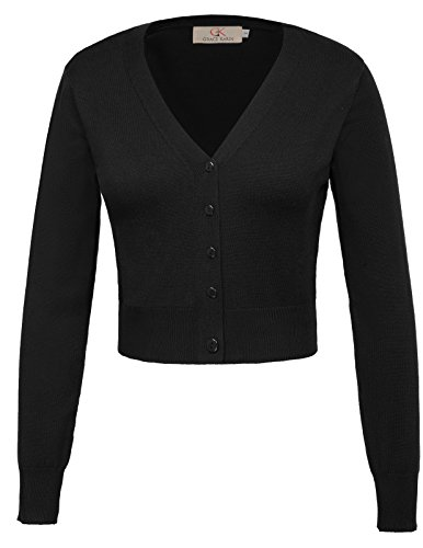 GRACE KARIN schwarz strickcardigan Damen Strickweste Langarm feinstrick Blouson S CL20-1