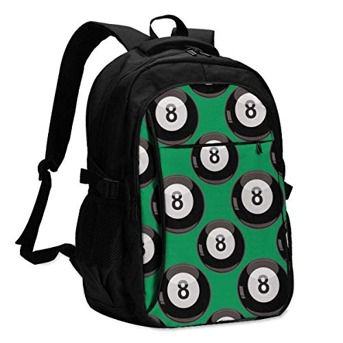IUBBKI Vector Seamless Pattern of Eight Balls On A Green Office & School Supplies with USB Data Cable and Music Jack Laptop Bags Computer Notebook 18.1X13.3 inch