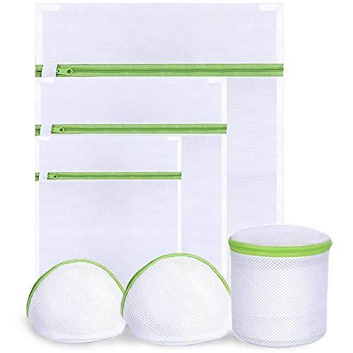 Huakaimaoyi 6pcs Mesh Wäschesäcke, Wiederverwendbare Haltbare Waschmaschinentasche Für Zarte Bluse, Strumpfwaren, Unterwäsche, BH, Dessous Und Babykleidung-Weiß