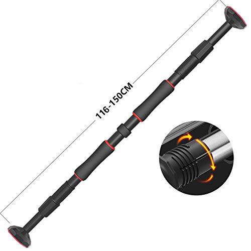 Best Review Of Kmgjc Pull Up Bar for Doorway, Home Indoor Wall Free Punch Single Bar Between Fitness Chin-Up Frame for Home Door Horizontal Bar,Black,66X90cm