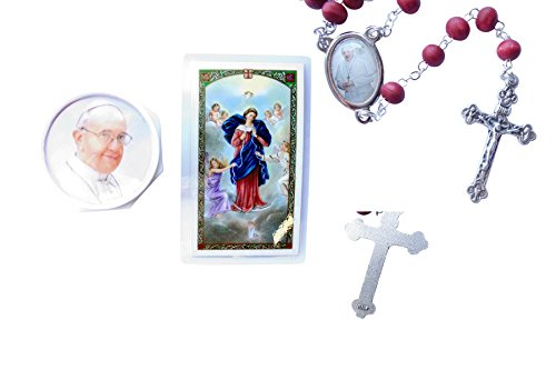 Price comparison product image Pope Francis Rose Scented Bead Rosary with The Prayer to Mary Undoer of Knots Blessed by The Pope