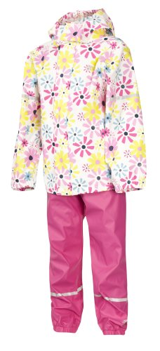 Trespass Combinaison imperméable pour fille (veste et salopette Rose, Homme, UCSURAJ10001_FLP5/6, imprimé floral, 5-6 ans