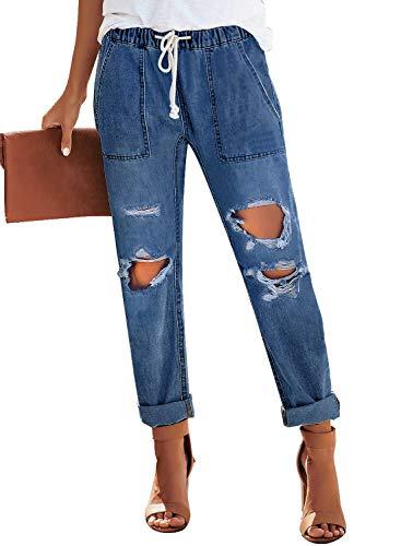 luvamia Women's Casual Ripped Distressed Jeans Elastic Waist Loose Slim Boyfriend Jeans Denim Pants Blue Size Small