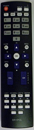 Polaroid Replacement Remote for 845-C45GF1XAPEH TV + TV/DVD
