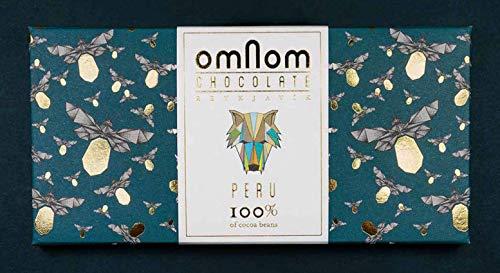 Omnom Dunkle Schokolade Peru 100%   Ohne Nüsse, Milch oder Zucker   Bio-Kakaobohnen & Kakaobutter, intensiv & zartbitter   Feinste Luxus-Süßigkeiten Mit Walnussnote   Ideal als Geschenk   10er Pack