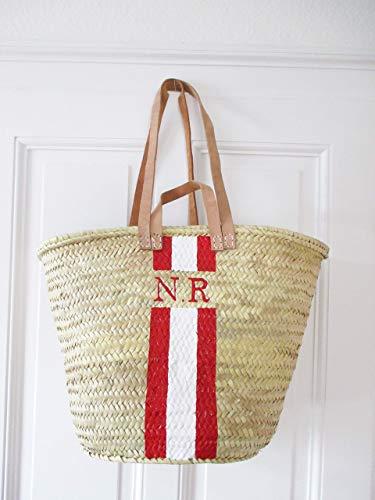 Korbtasche Personalisiert mit Monogramm Rot - Weiß | Leder Henkel | Namenstasche Initialbag Korb Strandkorb Strandtasche Ibizakorb Geschenk für SIe