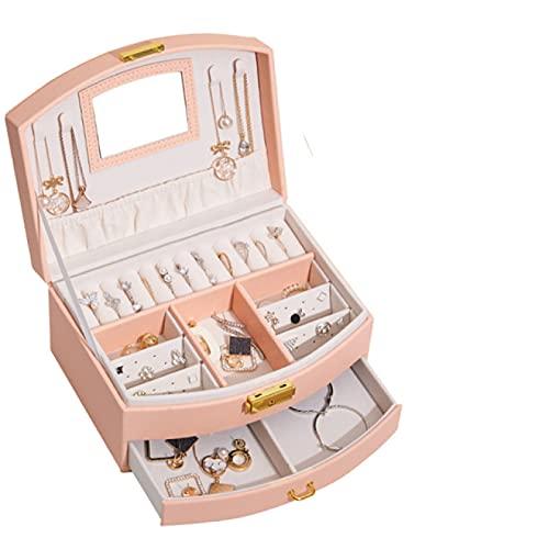FSSQYLLX Jewelry Tower Nueva Caja de Almacenamiento de joyería de Cuero de Doble Cubierta de Gran Capacidad con cajón para Oreja