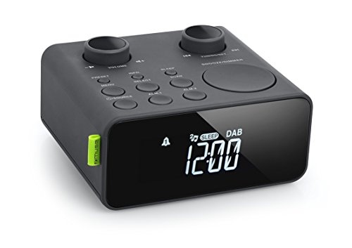 Muse M-197 CDB DAB Uhrenradio mit DAB+ und UKW Tuner (Dual-Alarm, Senderspeicher, dimmbar, AUX), schwarz