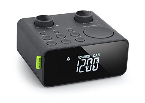 Muse M-197 CDB DAB Horlogeradio met DAB+ en FM-tuner (dual-alarm, zendergeheugen, dimbaar, AUX), zwart