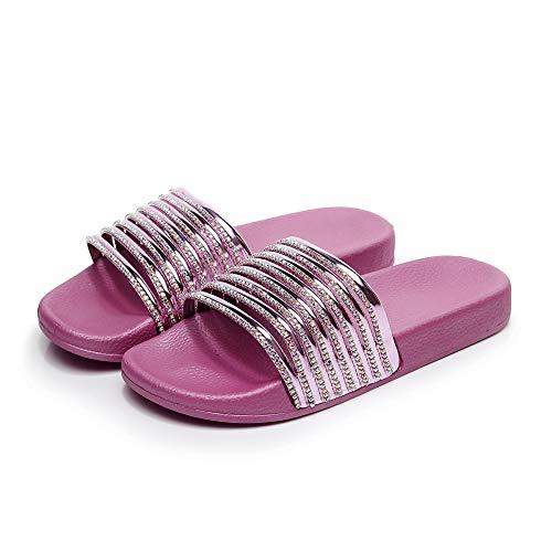 ZJMM Zapatillas Fucsia De Talla Grande para Mujer Sandalias Brillantes De Diamantes Brillantes para Mujer Sandalias Ocasionales De Palabra Salvaje Zapatos De Playa De Tacón Plano para Mujer