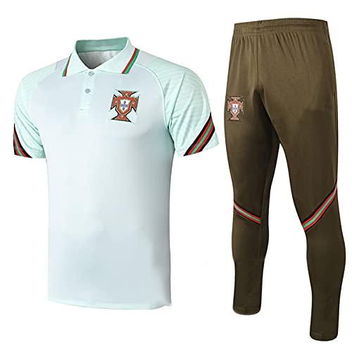 Backboards 2021 European Cup Jersey,Portugal Respirable Retro Camiseta de Manga Corta,Hombre Portero Unisex Adulto Niños T-Shirt,Light Green,XXL