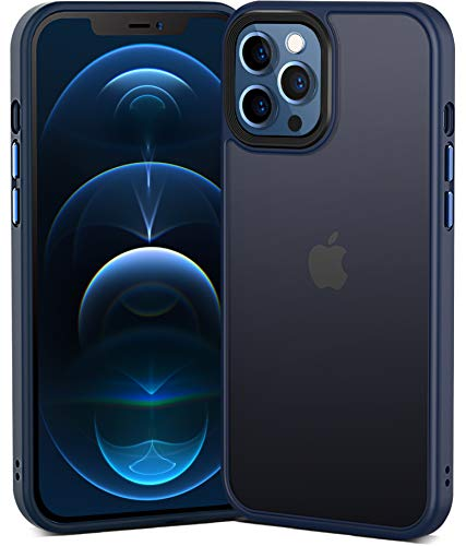Power Theory - Custodia per iPhone 12 Pro e iPhone 12, 6,1 pollici, con 2 set di bottoni intercambiabili in alluminio di grado aeronautico [Slim Premium antiurto protezione integrale] (blu)