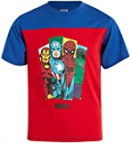 Marvel Avengers Boys' Graphic Character T-Shirts - Hulk, Spider-Man, Iron Man and Captain America, Size 5/6, Avengers Red