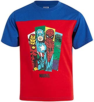 Marvel Avengers Boys' Graphic Character T-Shirts - Hulk Spider-Man Iron Man and Captain America Size 4 Avengers Red