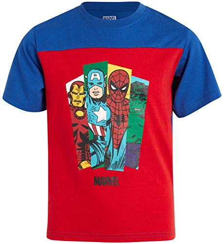 Marvel Avengers Boys' Graphic Character T-Shirts - Hulk, Spider-Man, Iron Man and Captain America, Size 4T, Avengers Red