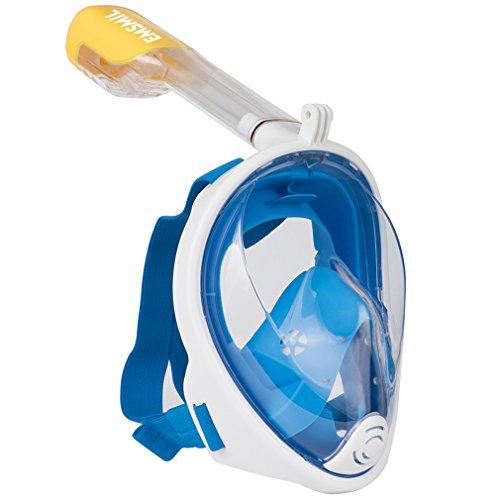 Emsmil – Breite Vollgesicht-Schnorchelmaske mit Ohrstöpsel und 180°-Sichtfeld, für Kinder und Erwachsene, blau, S/M