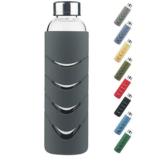 Botella de Agua de Cristal - 500 ml / 1 L Botella de Agua de Vidrio de Borosilicato sin...