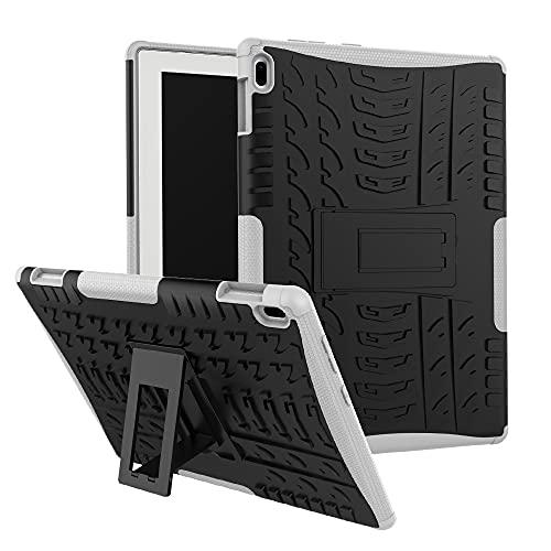 GUOQING Funda para tablet Lenovo Tab 4 10'/Tab-X304F con textura de neumáticos a prueba de golpes TPU+PC funda protectora con asa plegable (color: blanco)