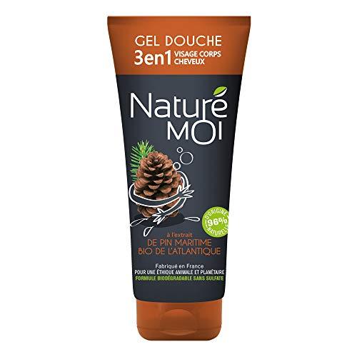 Naturé Moi – Gel douche 3 en 1 visage, corps et cheveux – À l'extrait de pin maritime bio de l'Atlantique pour homme – Nourrit et protège les peaux normales à sèches – 200ml