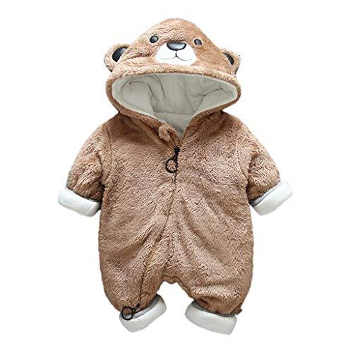Livoral Neugeborenes Baby Jungen Mädchen Little Bear Strampler Overall Warme Plüsch Outfits Kleidung(Kaffee,12-18 Monate)