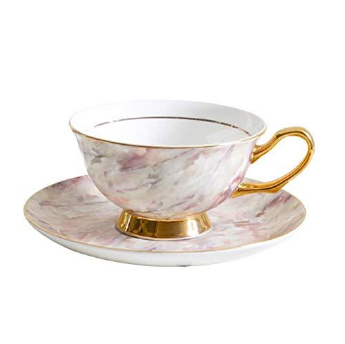 FEJK Bone China Juegos de Tazas de café Dorado Taza de té de Porcelana Juego de té de la Tarde Regalo de Boda Office Drink Ware 200Ml
