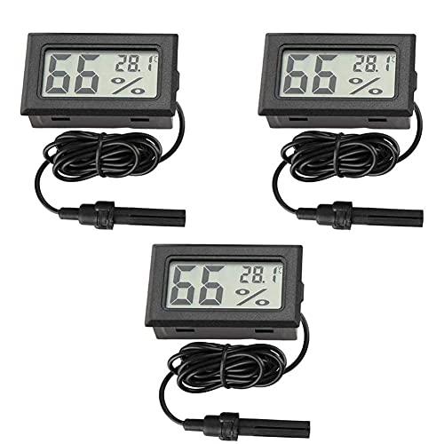 Nicejoy LCD-digital-Thermometer-Hygrometer Mini Embedded Temperaturmonitor Feuchtigkeit Tester Mit Außenfühler Für Kühlschrank Kühl-gefrierkombination Aquarium 3pcs